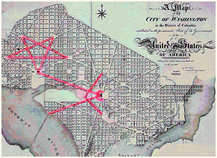 Washington DC Map : Pentagram, Square & Compass