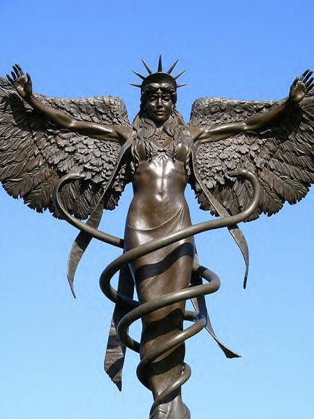 Caduceus : Ishtar Angel Caduceus Statue