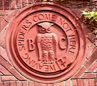 "Owls : Bohemian Club ""Weaving Spiders Come Not Here"" Owl Depiction"