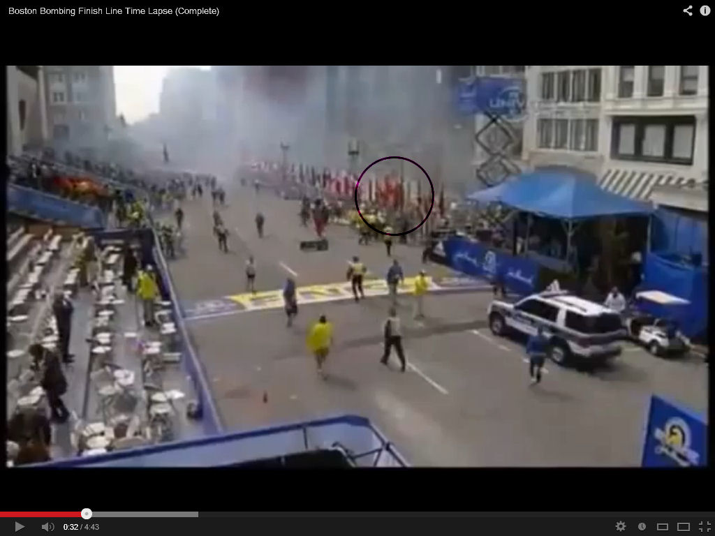 Flags start coming down 30 seconds after blast